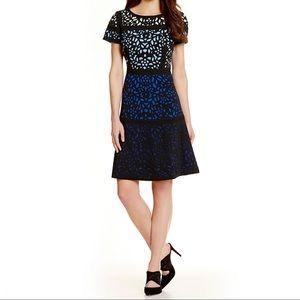 Antonio Melani Laser Cut Color Blocked Dress sz 0